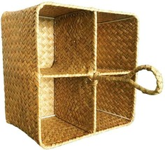 La 4 Grids Hand-Woven Seagrass Storage Square Basket And Home Organizer ... - £21.89 GBP