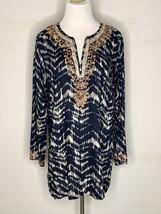 Soft Surroundings Womens Akira Bead Tunic Blouse Blue Boho V-Neck Petite... - $29.95
