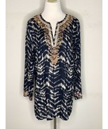 Soft Surroundings Womens Akira Bead Tunic Blouse Blue Boho V-Neck Petite... - $29.95