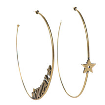 SALE* AUTHENTIC Christian Dior 2019 J'ADIOR Star Hoop Earrings Aged Gold