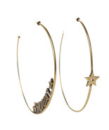 SALE* AUTHENTIC Christian Dior 2019 J'ADIOR Star Hoop Earrings Aged Gold - $259.99