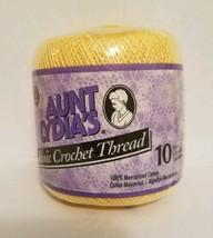 Aunt Lydias Crochet Thread 10 GOLDEN YELLOW 100% Cotton 1.5 mm 7 350 Yar... - $4.99