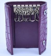 Elegant Affair Purple Button Closure Precise Crocodile Leather Men Key Wallet - $176.39
