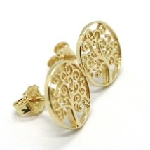STUD EARRINGS YELLOW GOLD 750 18K, TREE OF LIFE, MADE IN ITALY image 2
