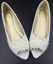 Women dressy flats for wedding,White open toe bridal shoes,flat bridal s... - £30.95 GBP