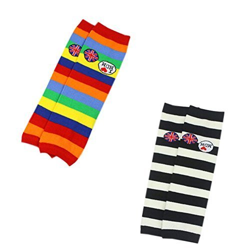 Set of 2 Colorful Stripe Cute Baby Leg Wamers Cotton Toddler Leg Guards,1-5Yrs