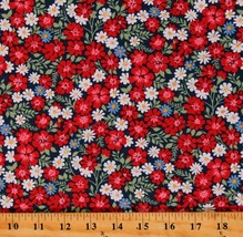 Cotton Floral Dutch Multicolor Flowers on Blue Fabric Print by the Yard ... - $11.95