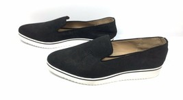 Franco Sarto Fabrina Black Leather Upper Slip on Shoes Emboss Nubuck -WO... - $37.05