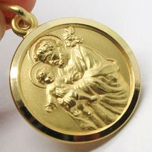 18K YELLOW GOLD ST SAINT SAN GIUSEPPE JOSEPH JESUS MEDAL MADE IN ITALY, 15 MM image 4