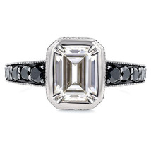 Rectangular Shape Cubic Zirconia Wedding Ring 14k White Gold Plated 925 Silver - $79.60