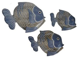 Beautiful Unique Set of 3 Wooden Fish Hanging Wall Art Hand Carved Statue Sculpt - $29.64
