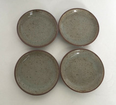 vintage 4 brown speckled stoneware coasters  small plant pot plates dish... - $16.78