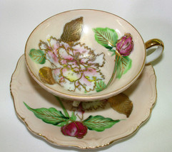 Vintage 40s Occupied Japan Tri-Footed Cup & Saucer Pink Carnations and R... - $21.14
