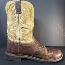 WK4660 Justin Men's Waxy Brown Western Work Boots 13 D Soft Toe Size 13D  - $43.49