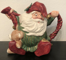 Vintage Fitz and Floyd Old World Santa Elf Teapot 1989 Retired Christmas - $64.34