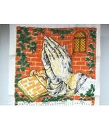 Vintage Calendar Linen Towel 1972 w Praying Hands Brick Wall Ivy Nice Sh... - $18.32