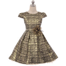 Gold Peek-A-Boo Layers Tulle High-Low Style Brocade Jacquard Mesh Girl D... - $64.95