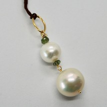 Charm 18k Yellow Gold with white pearls freshwater and Tourmaline Green image 2
