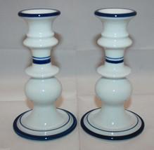 Set of 2 Dansk Bistro Christianshavn Blue Candle Holder White Denmark - $48.83