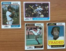 1974 Topps Baseball Card Lot Of 4 w/ Rod Carew, Steve Garvey - $14.80