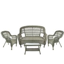 Northlight 4-Piece Drift Gray Steel Patio Furniture Set Loveseat 2 Chair... - $647.20