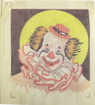 1970's Vintage Hand Painted Needlepoint Sunny Clown Performing 12CT Canvas - $45.14