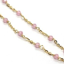 18K YELLOW GOLD BRACELET, PINK FACETED CUBIC ZIRCONIA, ROLO CHAIN, 6.9 INCHES image 2