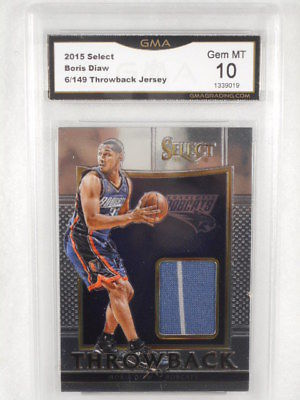 2015 Select 6/149 Boris Diaw Throwback Relic GMA Graded Gem MT 10