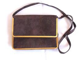 Cabrelli Vintage Clutch Purse Shoulder Strap Bag Brown Gold Snap Button ... - $33.92