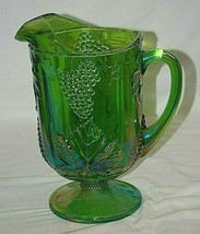 Princess Green Carnival by Indiana Glass Footed Pitcher Embossed Grapes ... - $79.19