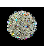 Vintage Weiss Cristallo Swarovski Perlina Strass Aurora Boreale Cluster ... - $62.99