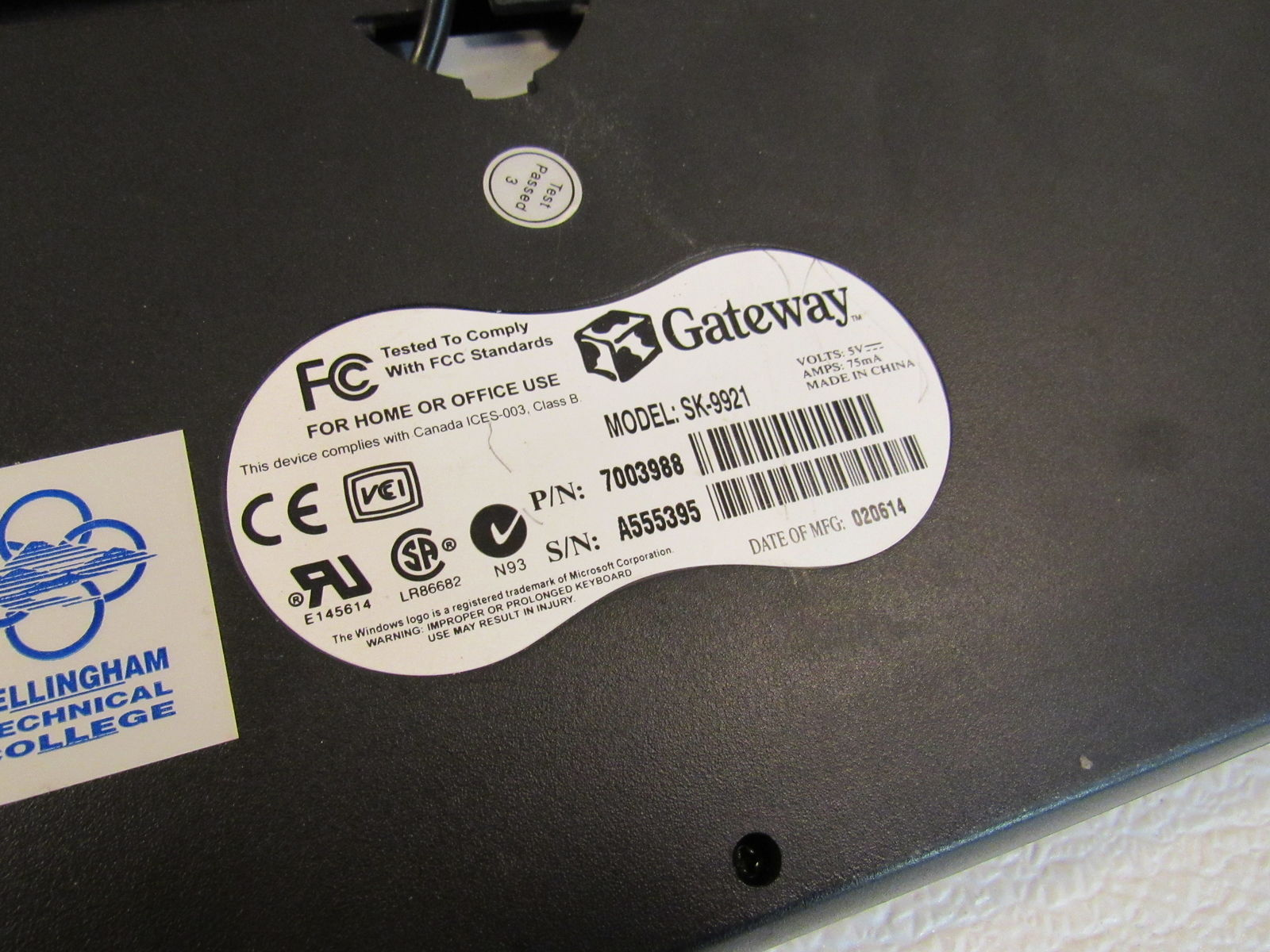 Gateway Desktop Wired Keyboard PS2 Black/Gray 104 Keys Genuine/OEM SK-9921