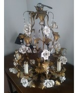 Elegant Early 1900's Chandelier Prismed with White Porcelain French Rose... - $11.500,19 MXN