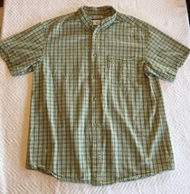 Men's Columbia Ruffled Plaid Shirt Green & Yellow Size XL Extra Large Genuine! - $27.13