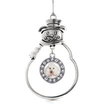 Inspired Silver Poodle Face Circle Snowman Holiday Ornament - $14.69