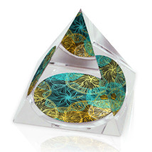 "Mesh Color Pattern Illustration Art Gift 2"" Crystal Pyramid Paperweight - $15.99"
