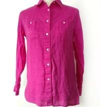 Lauren Ralph Lauren Womens Size PM Linen Button Down Shirt Magenta Purpl... - $14.50