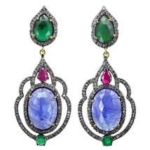 Vintage 2.12Ct Pave Damond 14K Gold Gemstone Dangle Earrings 925 Sterlin... - $1,893.38
