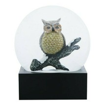 Black and Yellow Wise Owl on a Branch Decorative Water Globe - $19.79