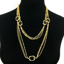 """SARAH COVENTRY vintage festoon station necklace - gold-tone brown 50"""" long  - $19.60"""
