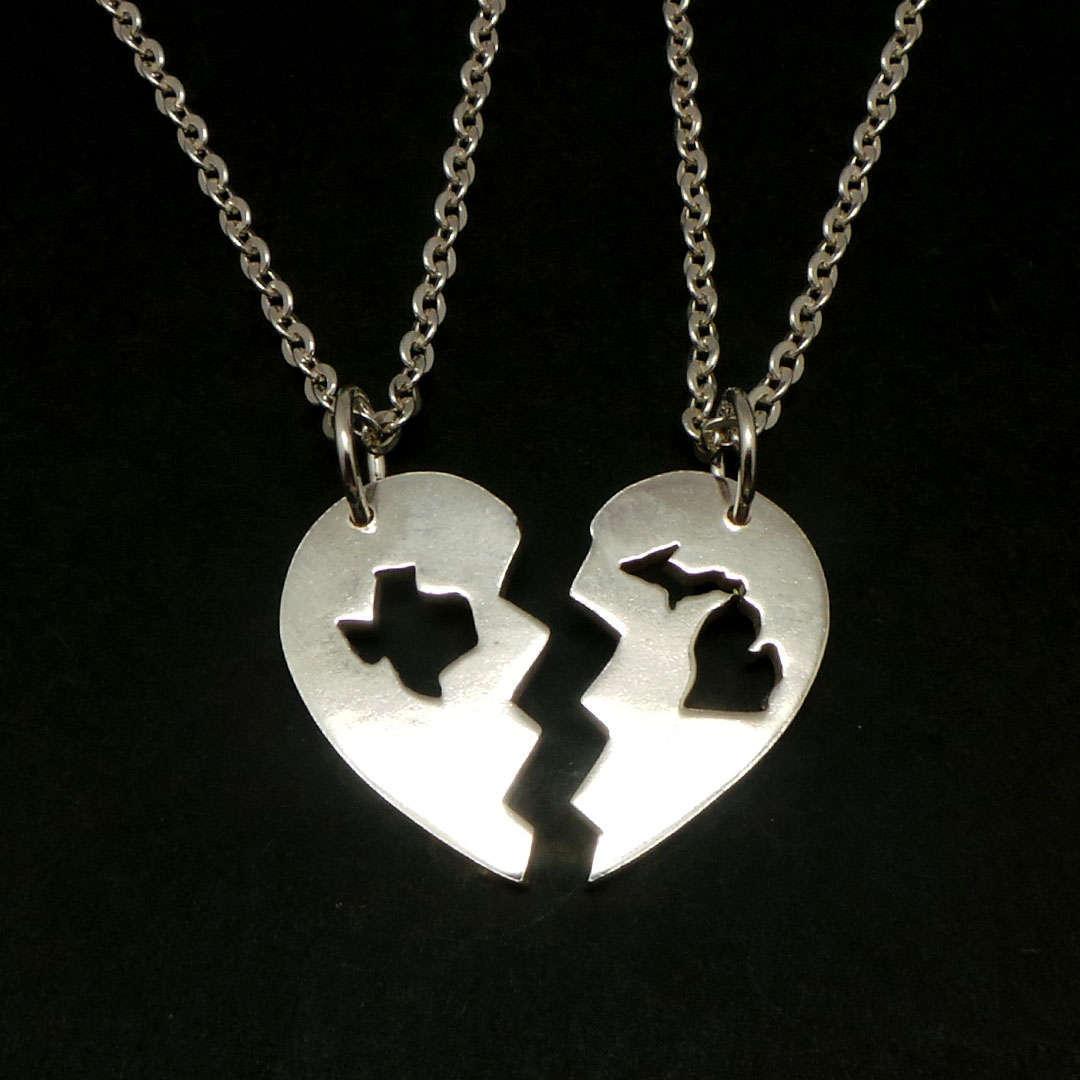 Handmade 925 Silver Long Distance Texas Michigan Broken Heart Couple Necklace