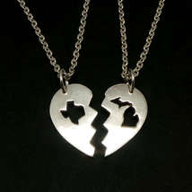 Handmade 925 Silver Long Distance Texas Michigan Broken Heart Couple Necklace  - $62.00