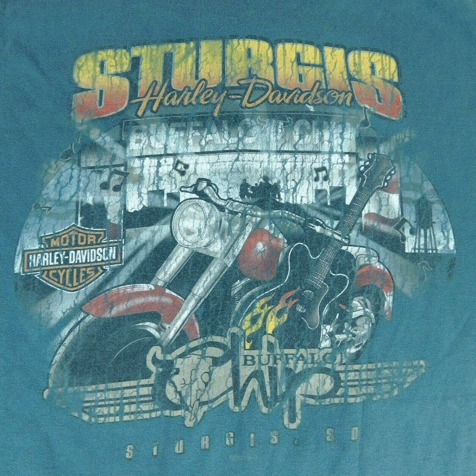 Harley Davidson Sturgis Black Hills Rally 2008 Buffalo Chip Blue T Shirt Sz XL image 5