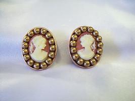 CAMEO COPPER Bead Frame Clip on Earrings Vintage Estate Career Office - $14.84