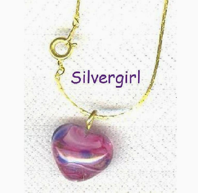 Pink marbled lampwork glass heart necklace