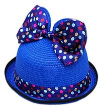 Summer Fashion Sun Hat For Kids With Bowknot Decor&Wave Point Pattern Deep Blue image 2