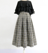 Black Winter Tweed Skirt Outfit A-line High Waisted Pleated Tweed Skirt image 1