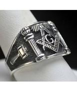 NICE STERLING SILVER 925 free mason MASONIC RING Size 12 - $66.83