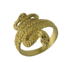 New 24K Gold Plated Rattle Snake King Cobra Ring Pick your SIZE Jewelry - $29.99
