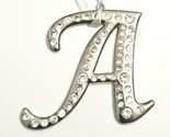 Silver Tone Rhinestone Monogram Ornament - Capital Letter A Christmas Ornament